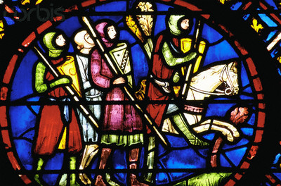 knights in stained glass window